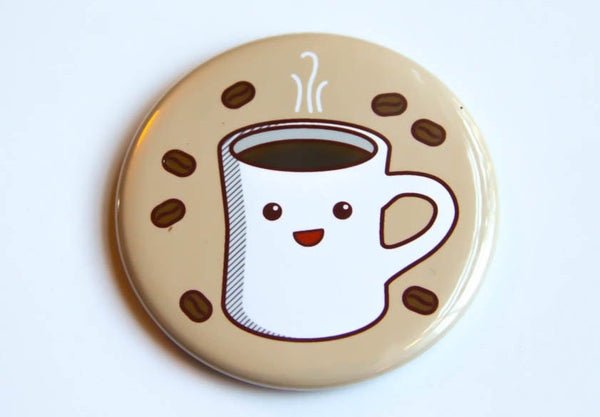 Coffee Magnet, Pin, or Pocket Mirror-Button-TinyBeeCards