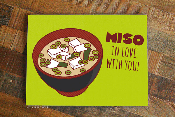 "Funny I Love You Card ""Miso in Love With You!"" - Miso soup love card, Funny Anniversary Card, Valentine's day, Significant Other card"