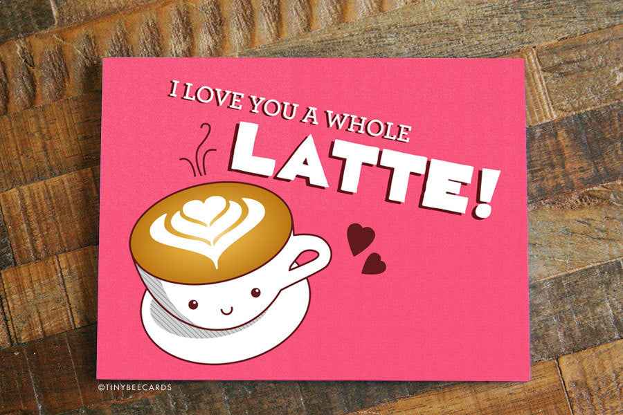 "Cute Love Card ""Love you a Latte"" - coffee lover card, boyfriend girlfriend card, cute love card, typography card, kawaii card, coffee pun"