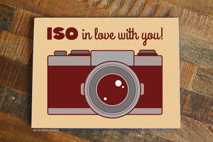 "Funny Love or Anniversary Card ""Iso in Love With You!"" - Photographer card, hipster vintage retro camera, boyfriend girlfriend, I love you"
