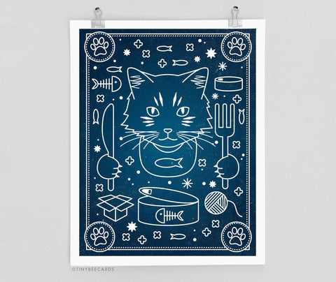 Celestial Cat's Breakfast - Cat Art Print, Cat Poster Wall Decor, Cat Wall Art, Cat Lover Gift, Space Cat, Cat Constellation Print