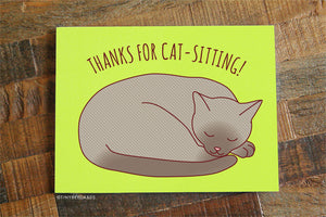 "Cat Sitting Card ""Thanks for Cat-Sitting!"" - Cat Watching Thank You Card, Sleeping Cat Card, Cute Cat Card, Cat Sitter, Thank You Note"