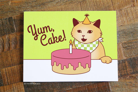 "Cat Birthday Card ""Yum, Cake!"" - Funny Birthday Card, Cute Cat Card, Cake Card, Cat Lover Card, Cake Lover, Happy B-day, BFF Birthday Card"