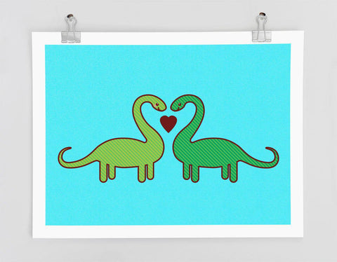 Dinosaurs Art Print - love or anniversary Gift, cute dinosaurs, wall art, gift for husband or wife, wedding gift, anniversary gift