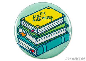 "Book Lover Button ""It's LIT-erary"""