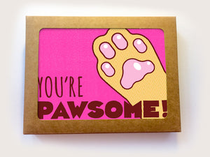 "Boxed Set of 8 All Occasion Cat Cards ""You're Pawsome"""