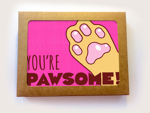 "Boxed Set of 6 All Occasion Cat Cards ""You're Pawsome"""