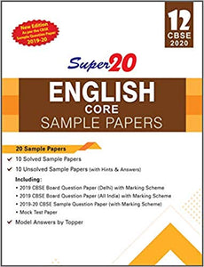 English Core - Super20 Sample Papers as per Revised Pattern for 2020 – Class 12      CBSE - bookmarshal.com