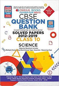 Oswaal  - SCIENCE question bank Chapterwise & Topicwise Including MCQs CBSE - 10                 (2019 - 2020) - bookmarshal.com