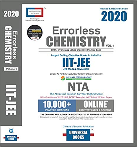 Errorless Chemistry for JEE Mains and Advanced (set of 2 volumes)  -  2020 edition - bookmarshal.com