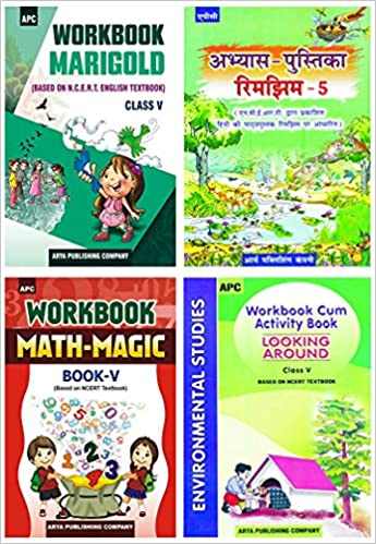 APC - Marigold, Rimjhim, Math Magic, EVS (Set of 4 Books) - 5th          WORKBOOK - 2020 (Based on NCERTs) - bookmarshal.com