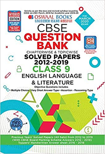 Oswaal  - ENGLISH (Beehive, Moments) Question bank Chapterwise & Topicwise Including MCQs CBSE - 9                 (2019 - 2020) - bookmarshal.com