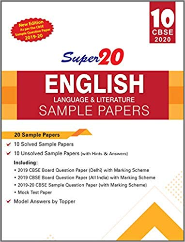 English - Super20 Sample Papers as per Revised Pattern for 2020 – Class 10      CBSE - bookmarshal.com