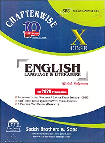 CBSE Past 10 Years Chapterwise Board Papers ENGLISH - 10        2020 Edition - bookmarshal.com