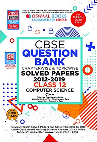Oswaal  - COMPUTER SCIENCE C++ Chapterwise & Topicwise Question Bank including MCQs  - 12                 (2019 - 2020) - bookmarshal.com