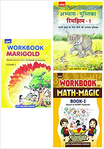 APC - Marigold, Rimjhim, Math Magic (Set of 3 Books) - 1st          WORKBOOK - 2020 (Based on NCERTs) - bookmarshal.com