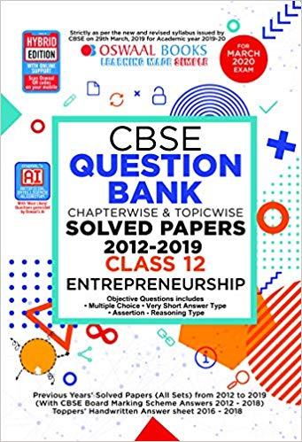 Oswaal  - ENTREPRENEURSHIP Chapterwise & Topicwise Question Bank including MCQs  - 12                 (2019 - 2020) - bookmarshal.com