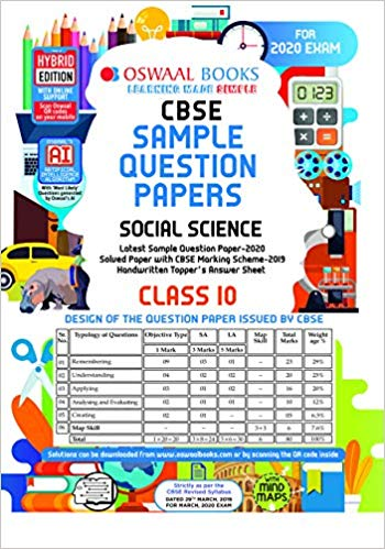 Oswaal  - CBSE Sample Question Paper Class 10 Social Science - 10                 (2019 - 2020) - bookmarshal.com