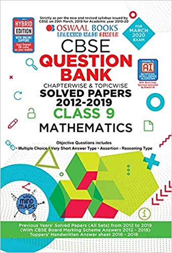 Oswaal  - MATHEMATICS Question bank Chapterwise & Topicwise Including MCQs CBSE - 9                 (2019 - 2020) - bookmarshal.com