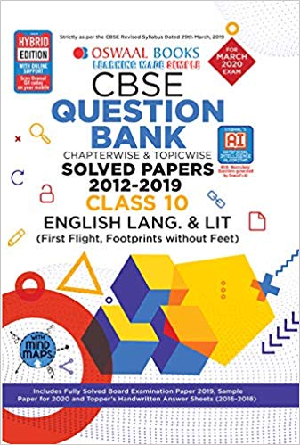 Oswaal  - ENGLISH (first flight, footprints) Question bank Chapterwise & Topicwise Including MCQs CBSE - 10                 (2019 - 2020) - bookmarshal.com