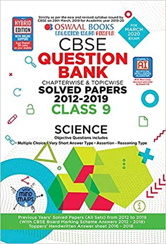 Oswaal  - SCIENCE Question bank Chapterwise & Topicwise Including MCQs CBSE - 9                 (2019 - 2020) - bookmarshal.com