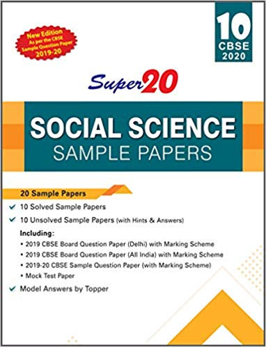 Social Science - Super20 Sample Papers as per Revised Pattern for 2020 – Class 10      CBSE - bookmarshal.com