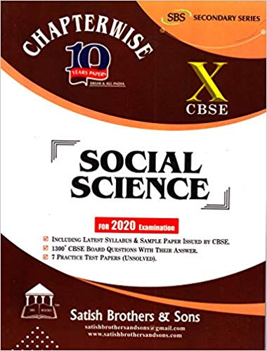 CBSE Past 10 Years Chapterwise Board Papers SOCIAL SCIENCE - 10        2020 Edition - bookmarshal.com