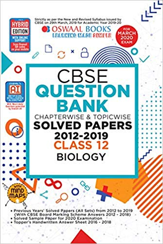 Oswaal  - BIOLOGY Chapterwise & Topicwise Question Bank including MCQs  - 12                 (2019 - 2020) - bookmarshal.com