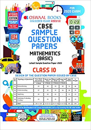 Oswaal  - CBSE Sample Question Paper Class 10 Mathematics Basic - 10                 (2019 - 2020) - bookmarshal.com