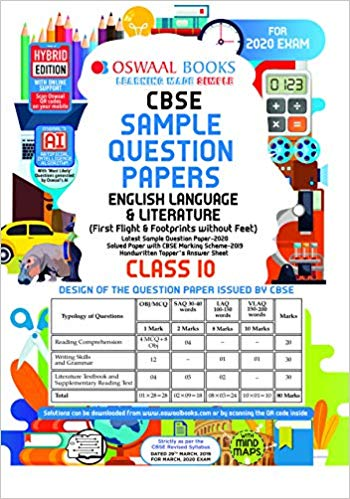 Oswaal  - CBSE Sample Question Paper Class 10 English  - 10                 (2019 - 2020) - bookmarshal.com