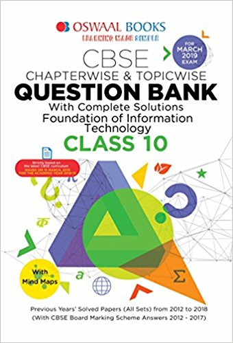 Oswaal  - FOUNDATION OF INFORMATION TECHNOLOGY question bank CBSE - 10                 (2018 - 2019) - bookmarshal.com