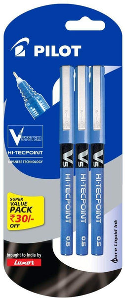 Pilot V5 Pen Liquid Ink Roller Ball Pen - Pack of 3, Blue - bookmarshal.com