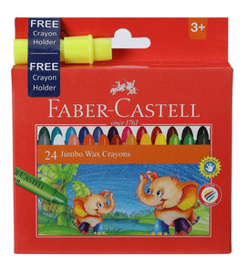 Faber-Castell Jumbo Wax Crayons - 24 Shades (Free Crayon Holder) - bookmarshal.com