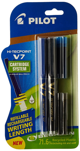 Pilot V7 Hi-tecpoint Pen with cartridge system - 1 Blue, 1 Black Pen, 2 Blue cartridges, 2 Black cartridges - bookmarshal.com