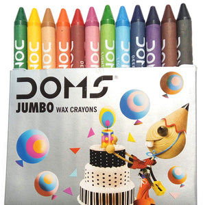 Doms Jumbo Wax Crayons, 12 Assorted Colors, Rich Brighter Shades, Smooth Even Shading - bookmarshal.com