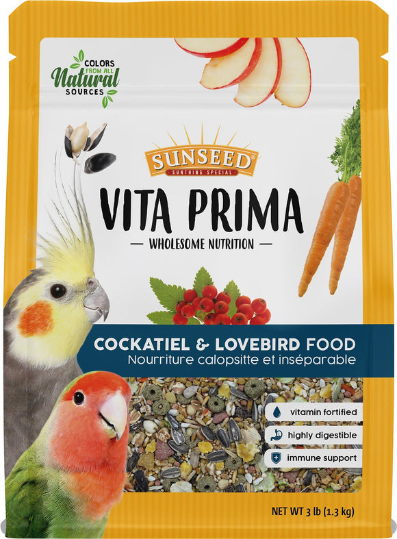 Sunseed Vita Prima Cockatiel & Lovebird Food, 3-lb bag