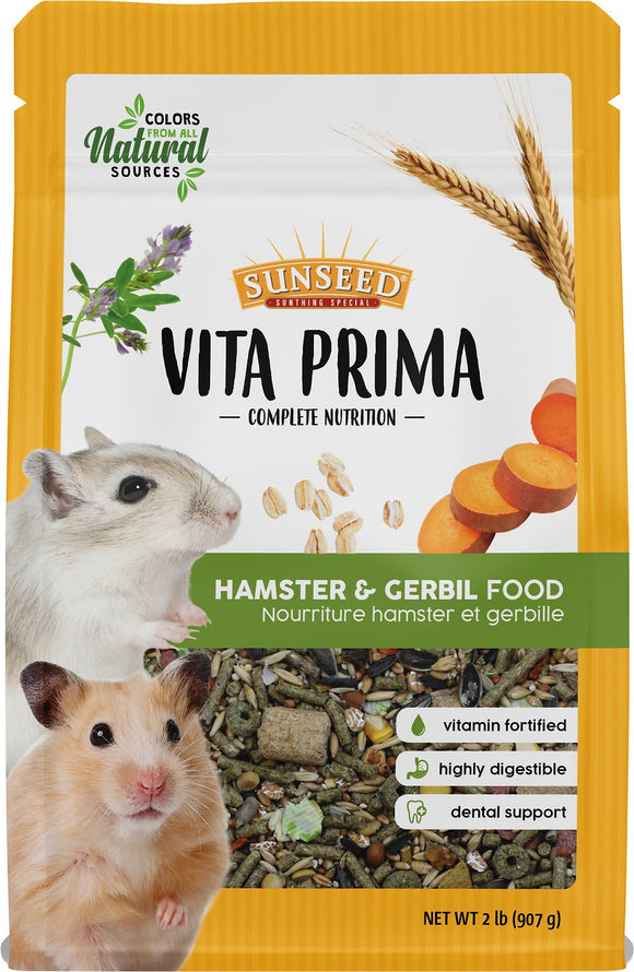 Sunseed Vita Prima Gerbil & Hamster Food, 2-lb bag