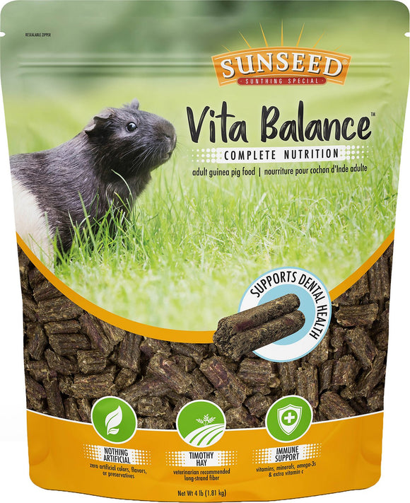Sunseed Vita Balance Guinea Pig Food, 4-lb bag