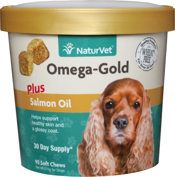 NaturVet Omega Gold Plus Salmon Oil Soft Chews for Dogs