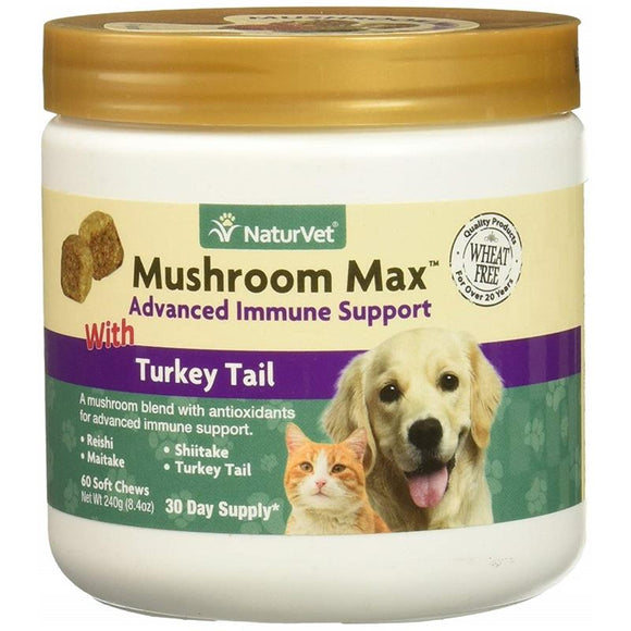 NaturVet Mushroom Max Advanced Immune Support With Turkey Tail Dog & Cat Soft Chews