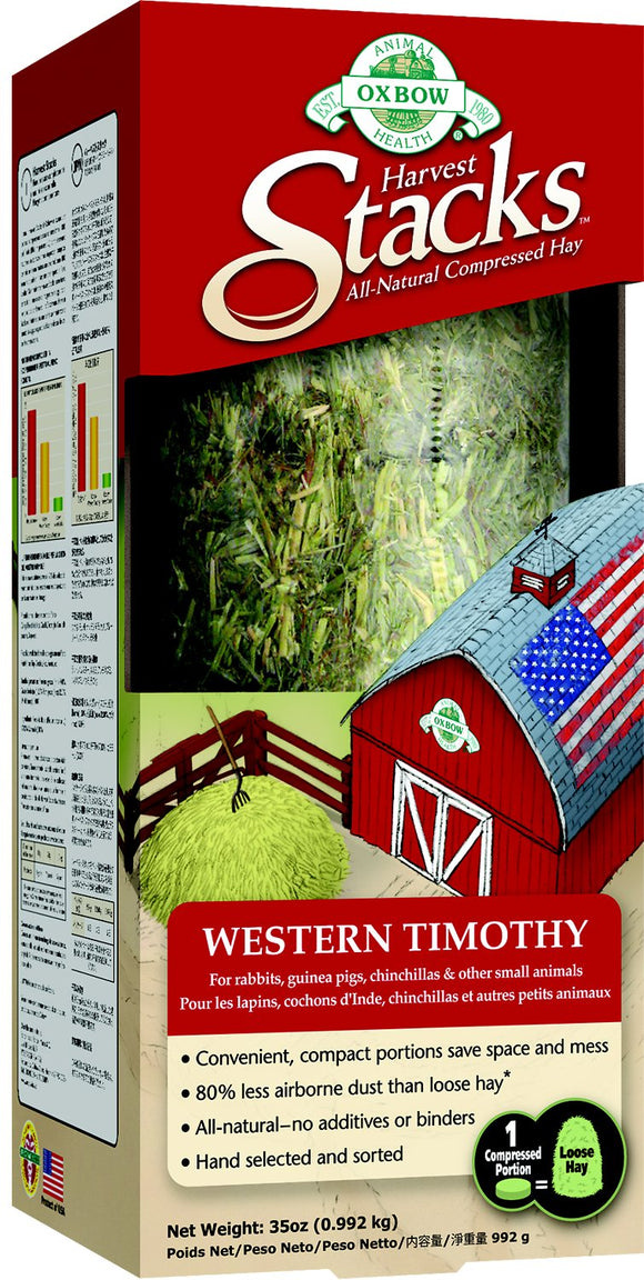 Oxbow Harvest Stacks Compressed Western Timothy Hay Small Animal Food, 35-oz