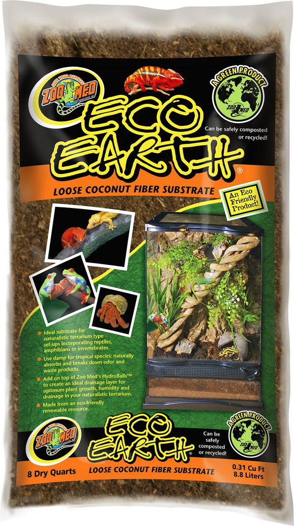 Zoo Med Eco Earth Loose Coconut Fiber Reptile Substrate 8qt