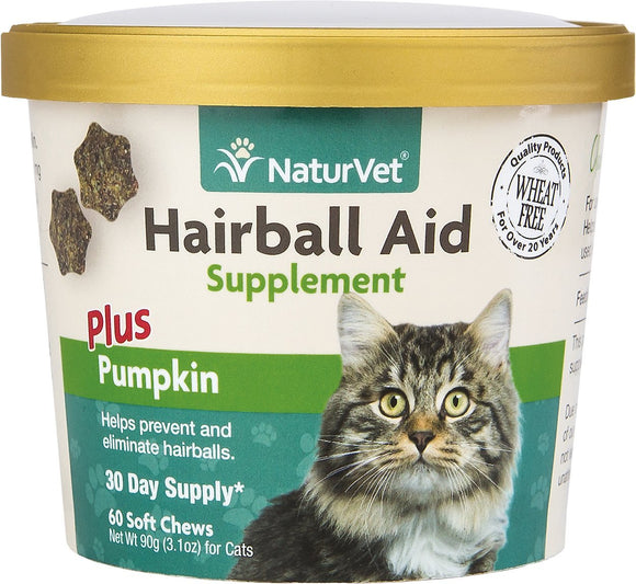 NaturVet Hairball Aid Supplement Plus Pumpkin Cat Soft Chews