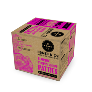 BONES & CO DOG TURKEY PATTIES BULK BOX FROZEN 18LB