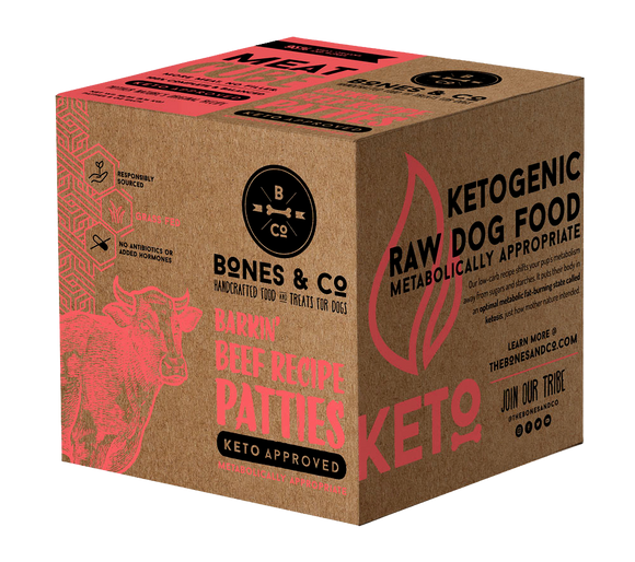 BONES & CO DOG BEEF PATTIES BULK BOX FROZEN 18LB