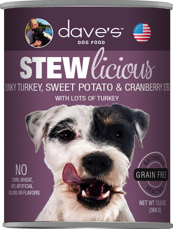Dave's Dog Food Stewlicious Grain-Free Chunky Turkey, Sweet Potato & Cranberry Stew Canned Dog Food, 13-oz