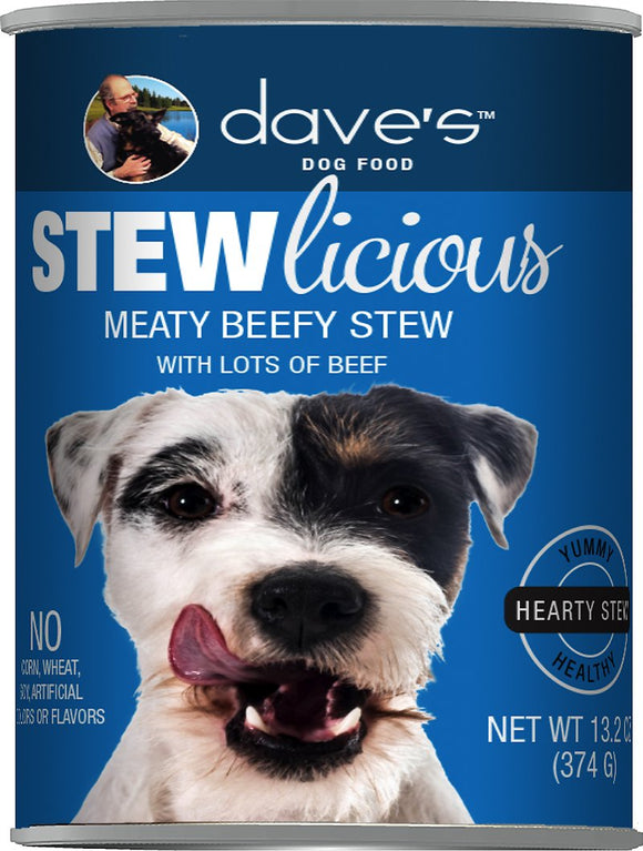 Dave's Dog Food Stewlicious Meaty Beefy Stew Canned Dog Food, 13.2-oz