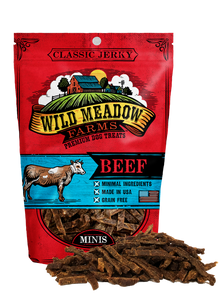 Wild Meadow Farms - Classic Beef Minis - USA Made Soft Jerky Training Treats for Dogs- 4oz