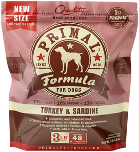 PRIMAL DOG TURKEY SARDINE NUGGETS FROZEN 3Lb-6Lb