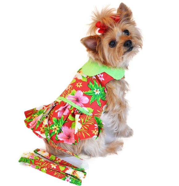 Red Hawaiian Dog Dress w/ matching Leash